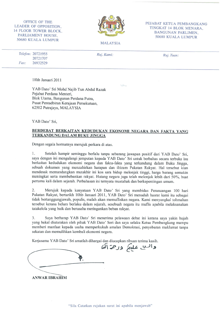.: The Sin of Knowledge :.: Surat Rasmi DSAI Kepada PM