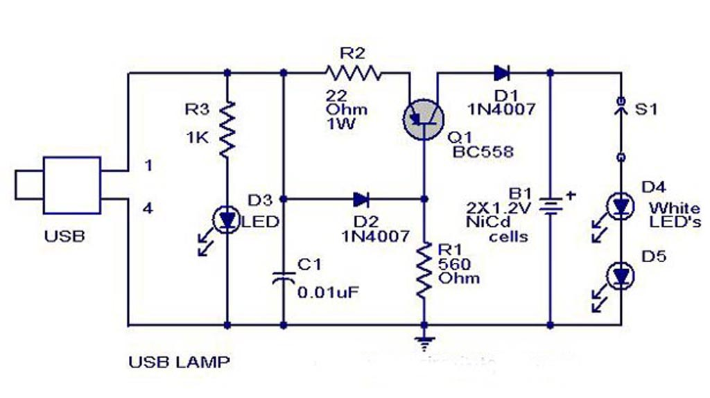 simple creative usb circuit lamp design