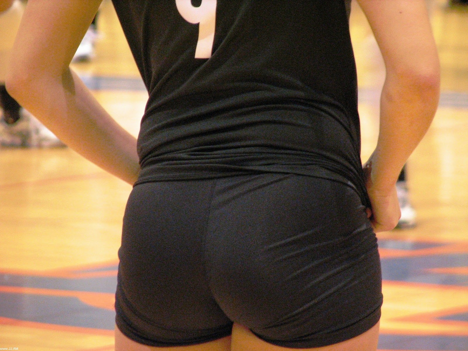 Sexy girls in spandex shorts
