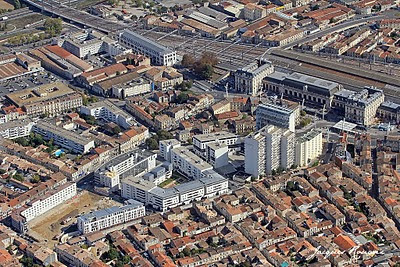 photo aérienne du quartier Saint Jean de Bordeaux