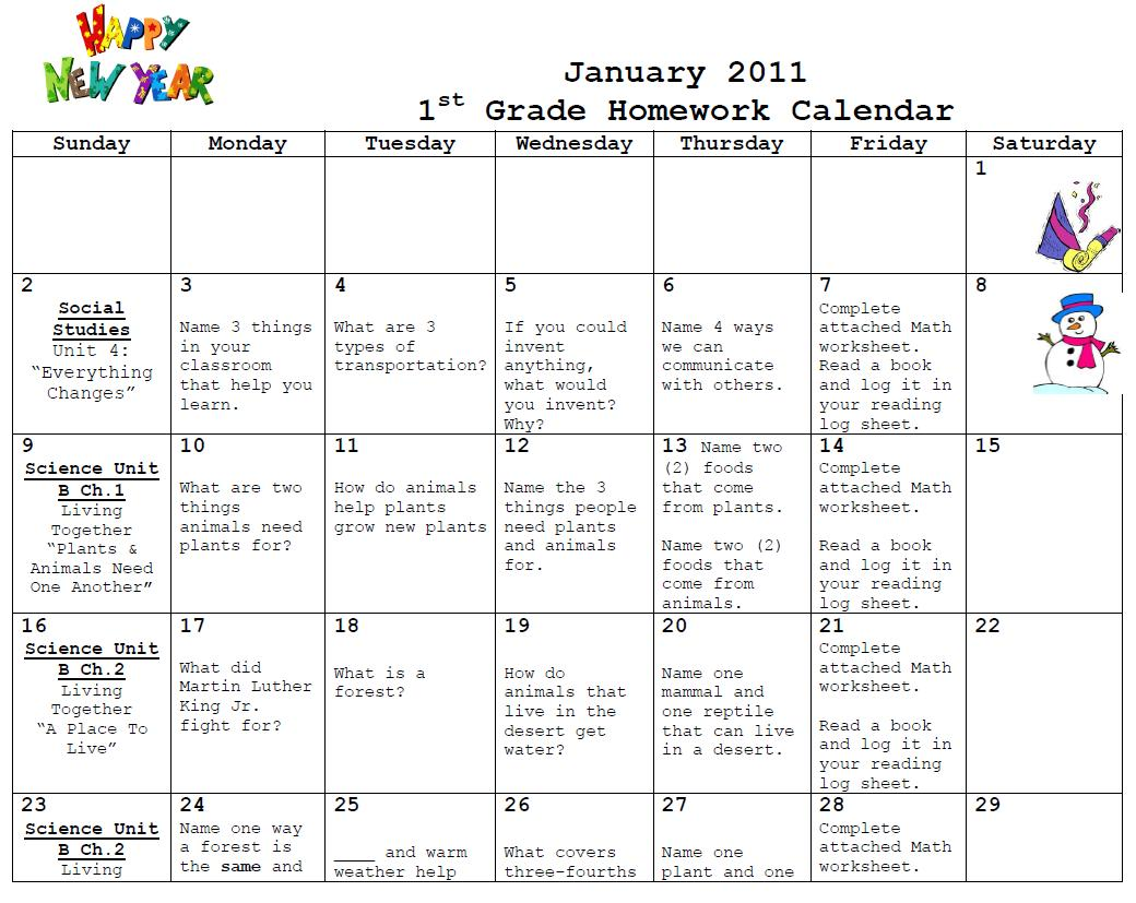 First Grade News At Lbj First Grade January Homework Calendar