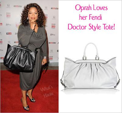 fc5e2c8c15 Celebrity Handbag Spotting  Oprah Winfrey with the Fendi Doctor Style Tote
