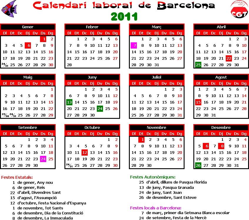 Calendario Escolar Barcelona.Gatos Sindicales Bcn Calendario Laboral 2011 Barcelona