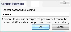 Reenter password to modify