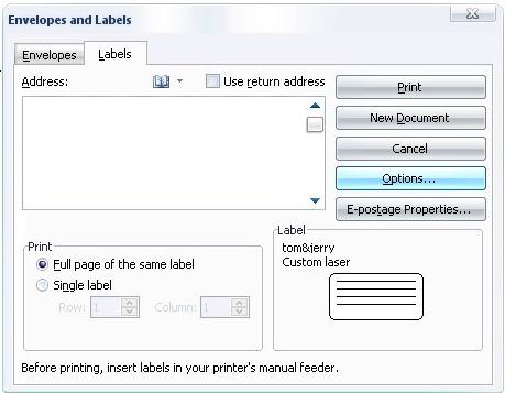 Gambar Kotak dialog Envelopes and Labels