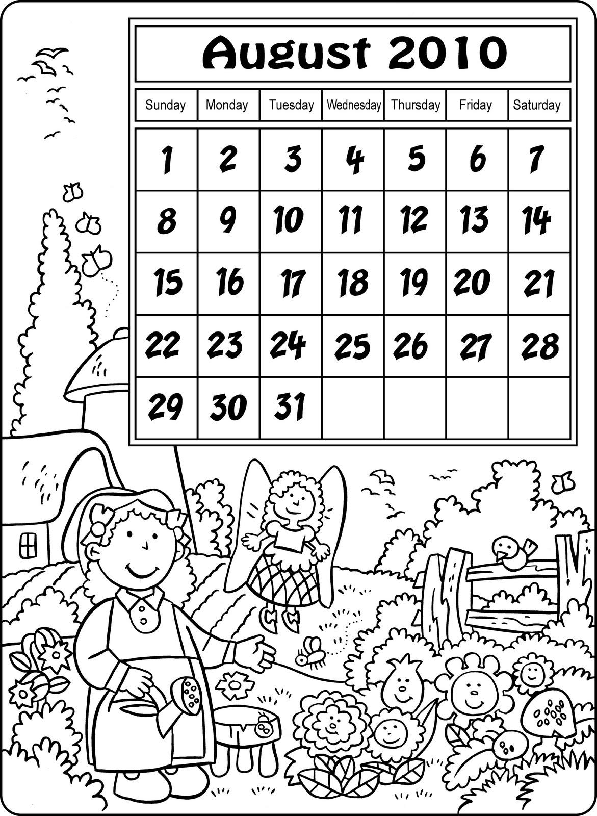 My Little House: Calendar for August