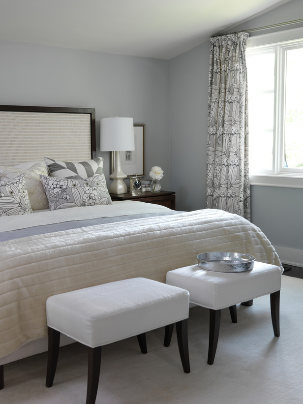 Midcentury modern style master bedroom with blue gray walls by Sarah Richardson