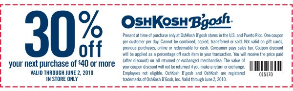graphic regarding Oshkosh Printable Coupon identify Osh kosh b gosh printable coupon codes - Brunos livermore coupon codes
