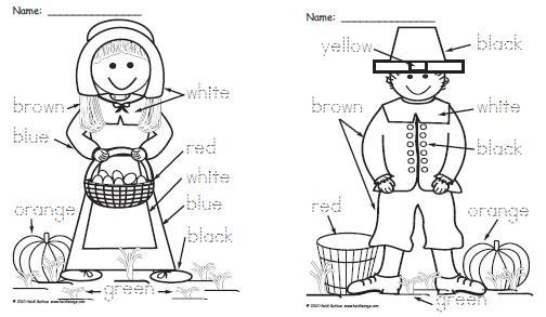 Homeschool Parent: Pilgrim Boy and Girl Color Word Worksheets