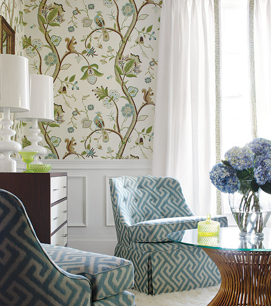 17 Divine Asian Inspired Living Room Designs That Exudes: Chinoiserie Chic: Thibaut Introduces Shangri-La