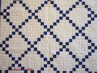 Blue and White Baby Quilt - Hand Quilted