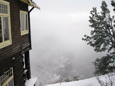 Kolb Studio with foggy canyon view South Rim Grand Canyon National Park Arizona