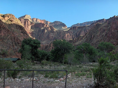 Looking up at South Rim from Phantom Ranch Grand Canyon National Park Arizona