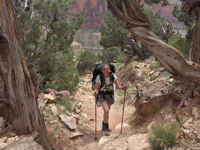 Hiking on the North Kaibab trail Grand Canyon National Park Arizona