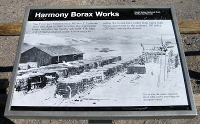 Interpretive sign at Harmony Borax Works Death Valley National Park California