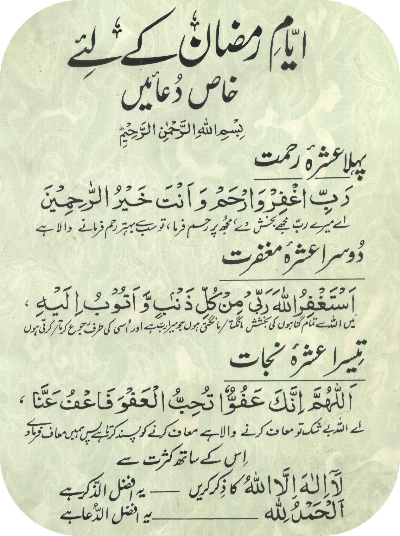 Ayaam E Ramazan Ki Duayen