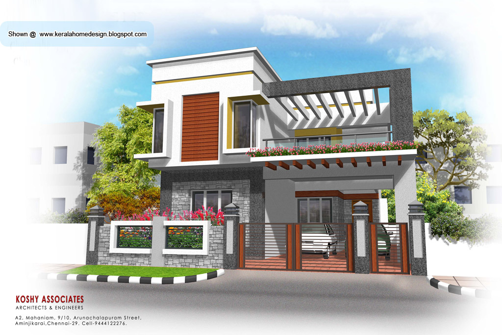 Front Elevation Of Residential Building In Autocad : Modern house plan sq ft kerala home design and