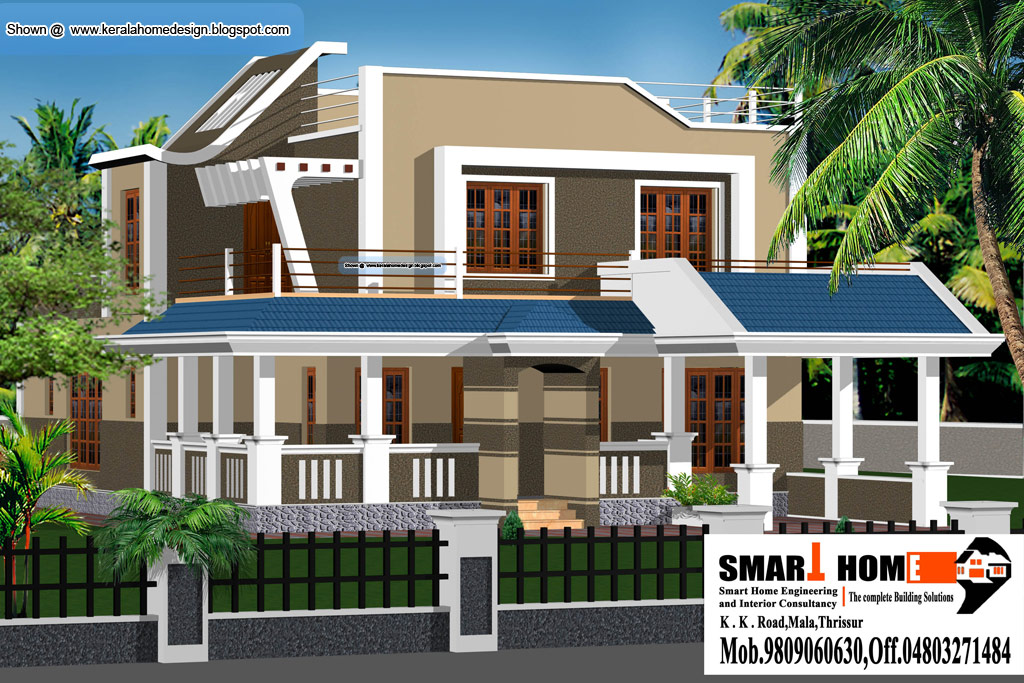 Sample Front Elevation Training : Kerala home plan and elevation sq ft