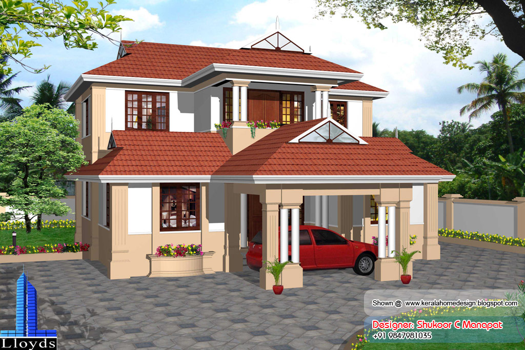 Kerala model villa plan with elevation 2061 sq feet for Low cost kerala veedu plans