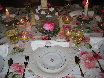 View of the table lengthwise. & how to make mini cup cake plates | Lady Katherine Tea Parlor