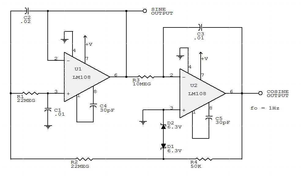 two transistor sine wave oscillator electronic circuit schematic