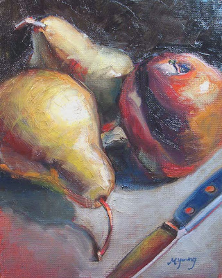 Three Pears & Knife still life, original oil painting by daily painter artist Marie Fox, fruits, small art