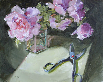 Glass Vase of Pink Roses & Flower Clippers, still life oil painting 11 x 14, rose cutters Marie Fox