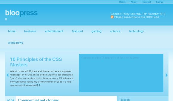 Free WordPress Magazine Blue Blog Website Theme