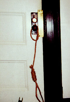 noose hanging from Prof Constantine's door