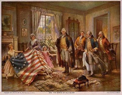 Betsy Ross shows off her flag - legend, but the flag was real!