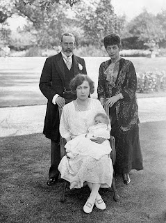 Alexandra, her son George, his daughter Princess Mary and her son - 1923