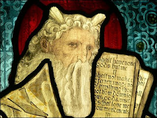 Horned Moses in stained glass