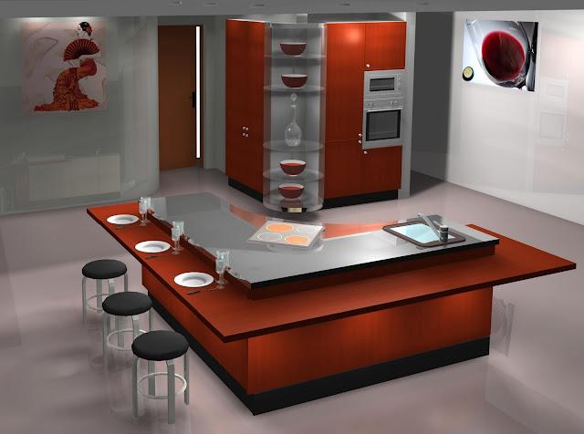 Dise o muebles de cocina dise o de cocina con isla y - Cocinas con diseno ...