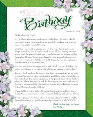 Patrice B: 21st Birthday Letter from Mother to Daughter