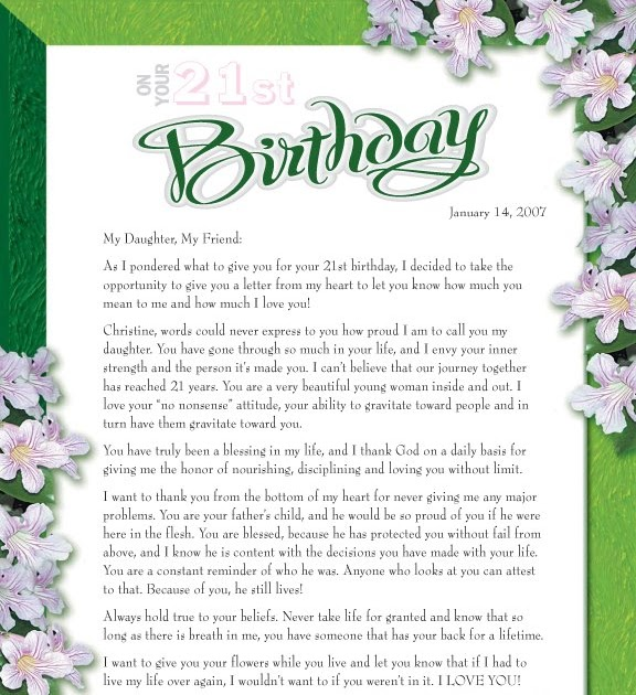 Patrice B 21st Birthday Letter From Mother To Daughter