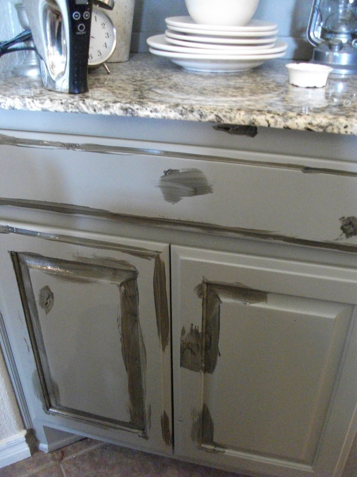 Antique Glaze Over White Cabinets
