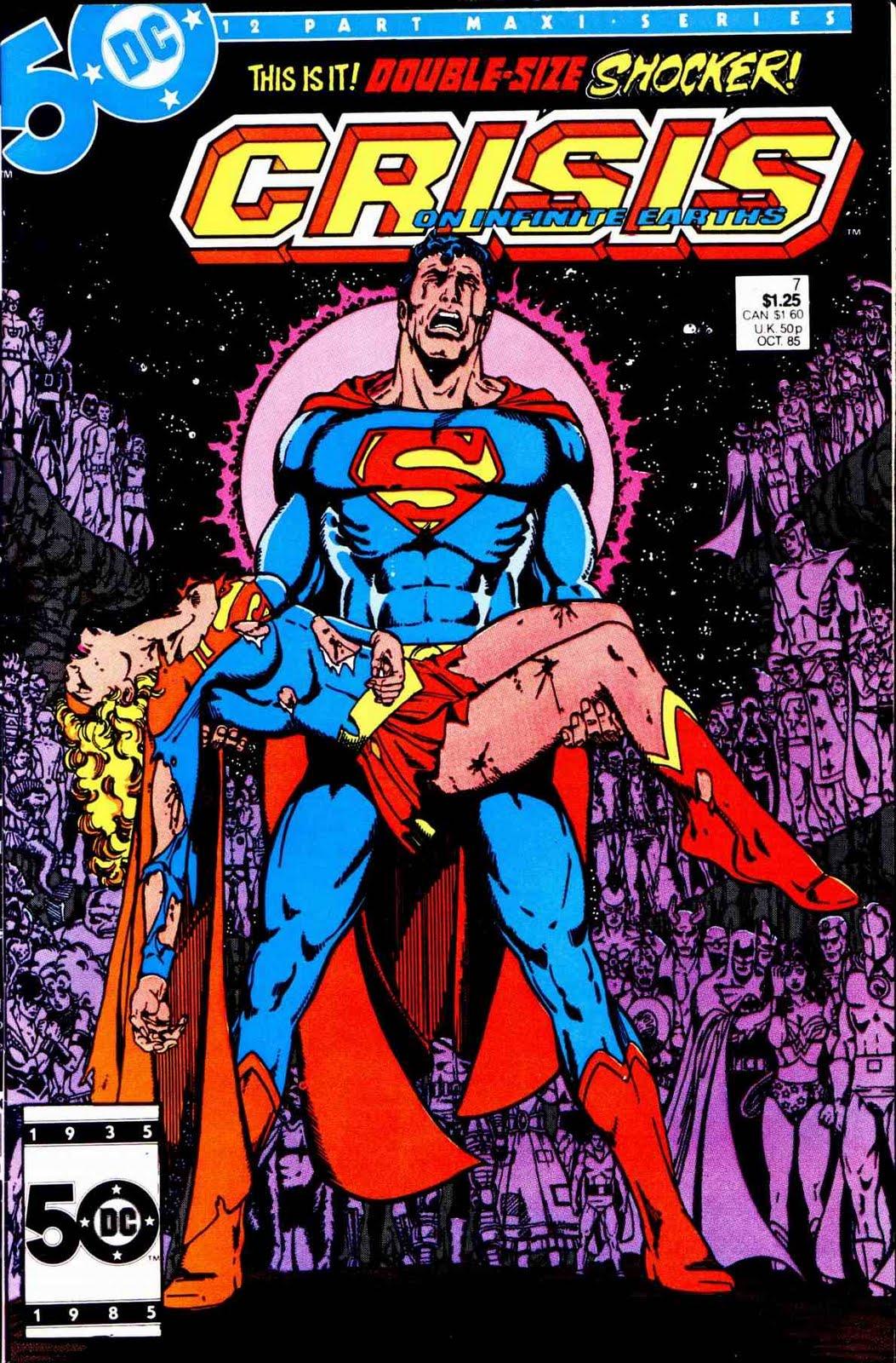 Um dos momentos mais importantes dos quadrinhos de super-heróis, esta capa poderia muito bem ganhar uma releitura para Heroes in Crisis. Arte de George Pérez.
