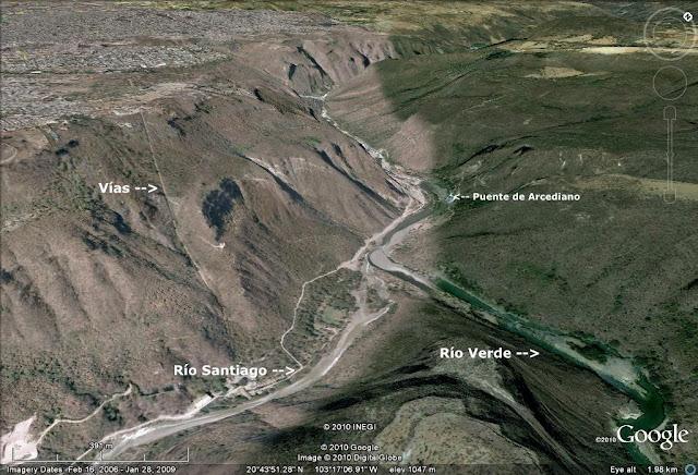 Vías en la barranca de Huentitán y lugar del Puente de Arcediano