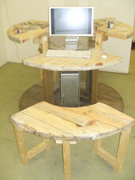 a wire spool desk construction and diy projects forums. Black Bedroom Furniture Sets. Home Design Ideas