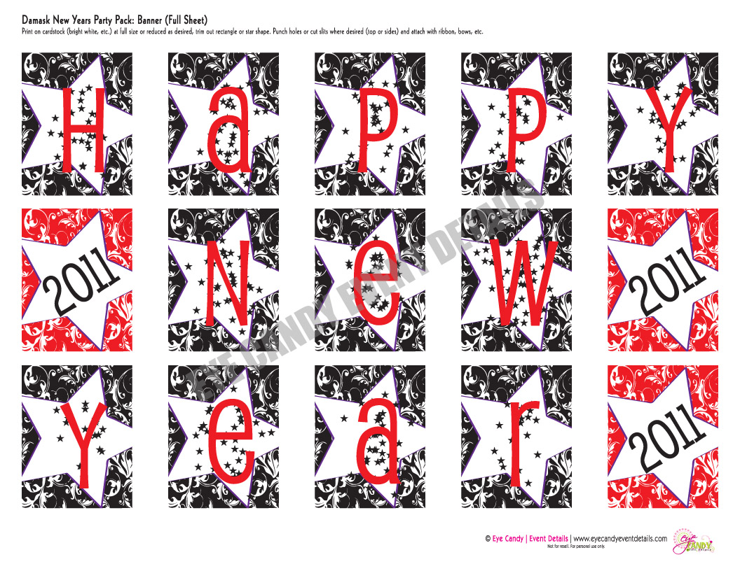 picture relating to Happy New Years Banner Printable named December 2010 - Eye Sweet Imaginative Studio