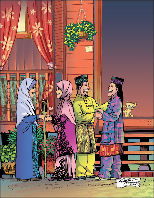 Image result for bersalaman di hari raya kartun