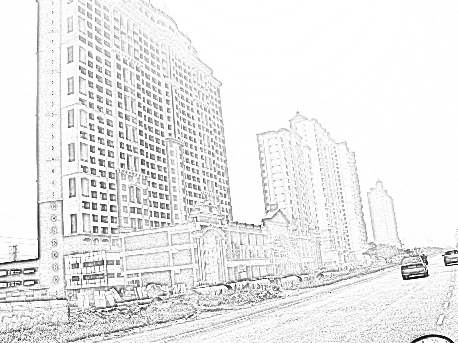 Stock Pictures: Sketches of high-rise apartments