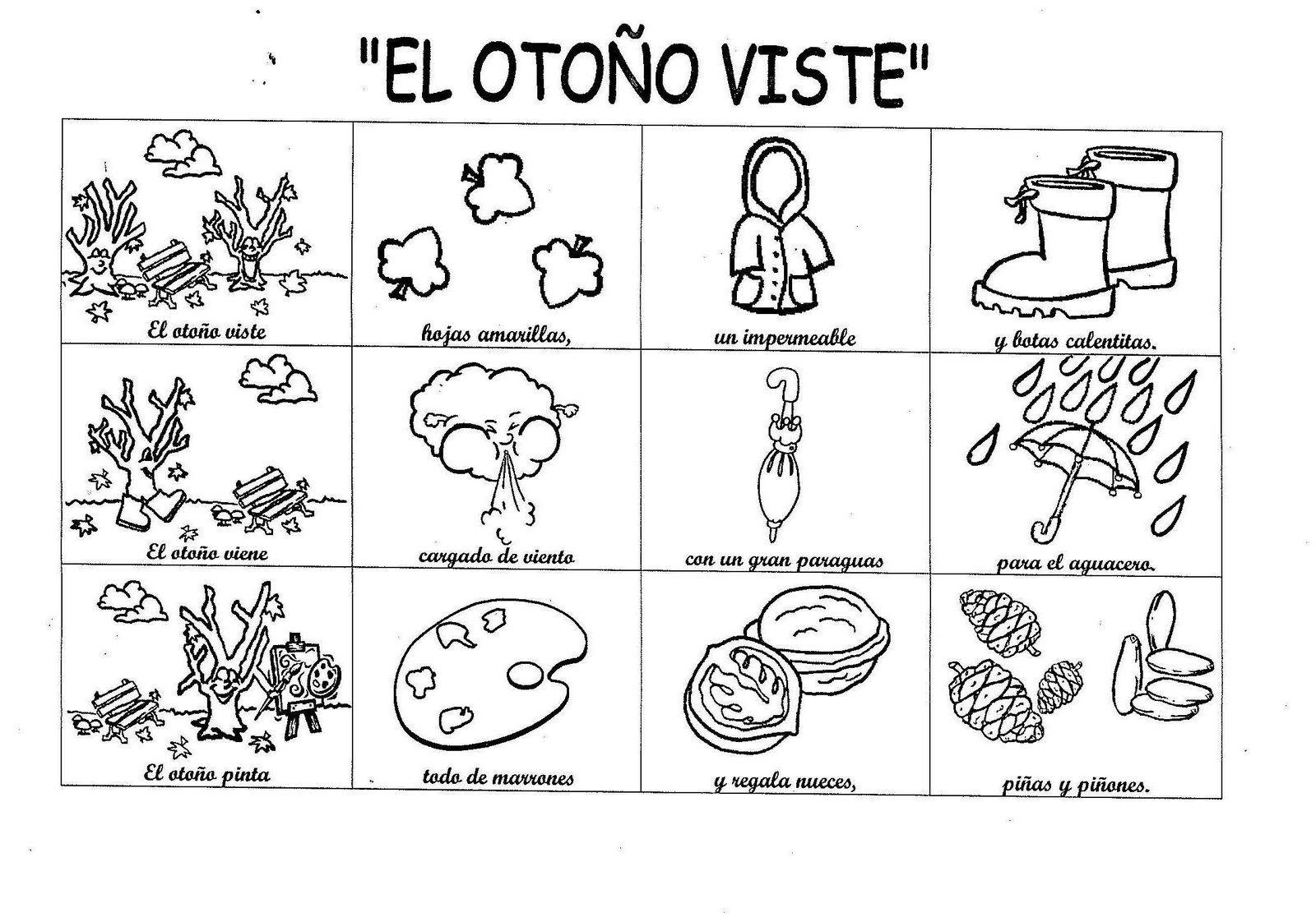 Dibujo De La Palabra Otoño Para Colorear Con Los Niños: Imagenes Para Colorear