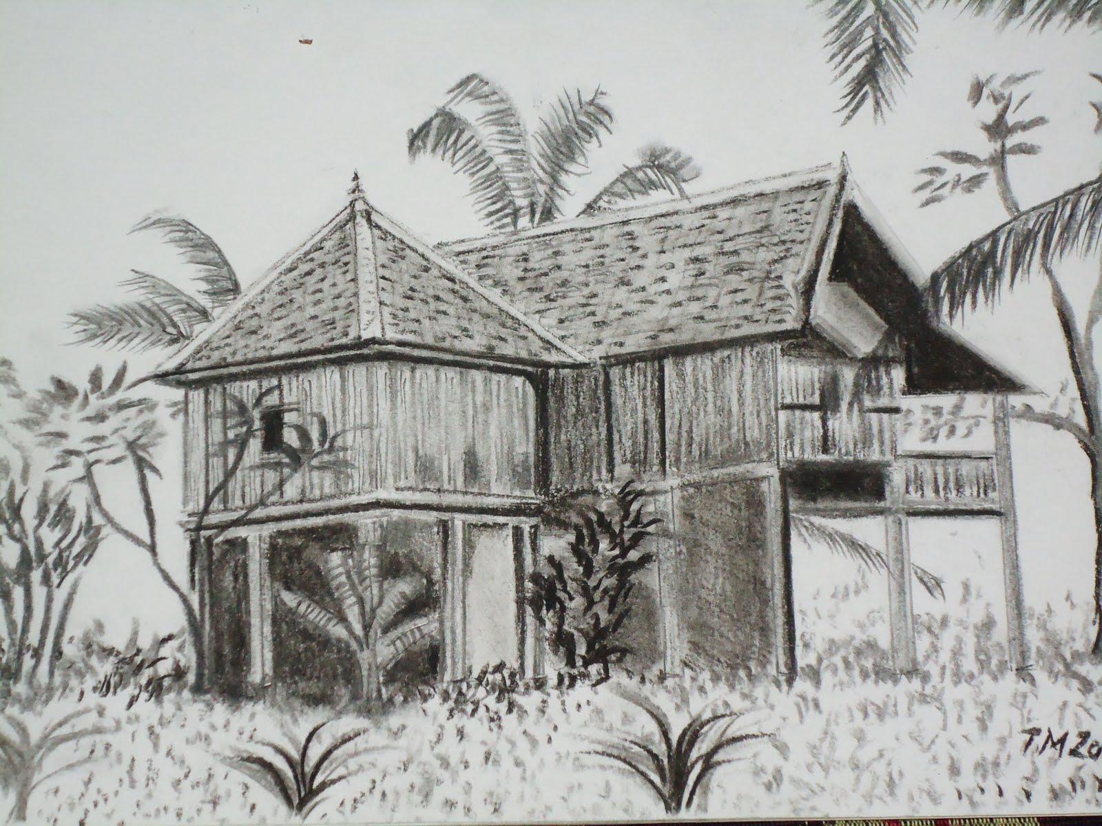 Lukisan Pemandangan Kampung Hitam Putih Creativehobbystore
