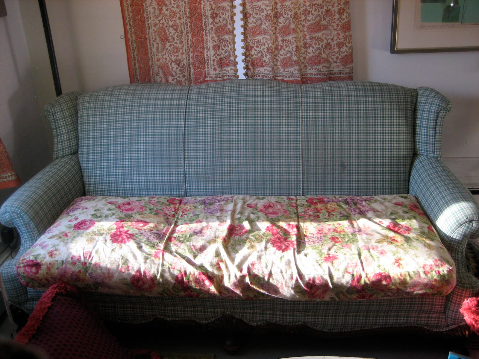 How Much Fabric To Make A Sofa Cover Baby Blue Crushed Velvet Tiptoethrough Diy Upgrade On The Cheap