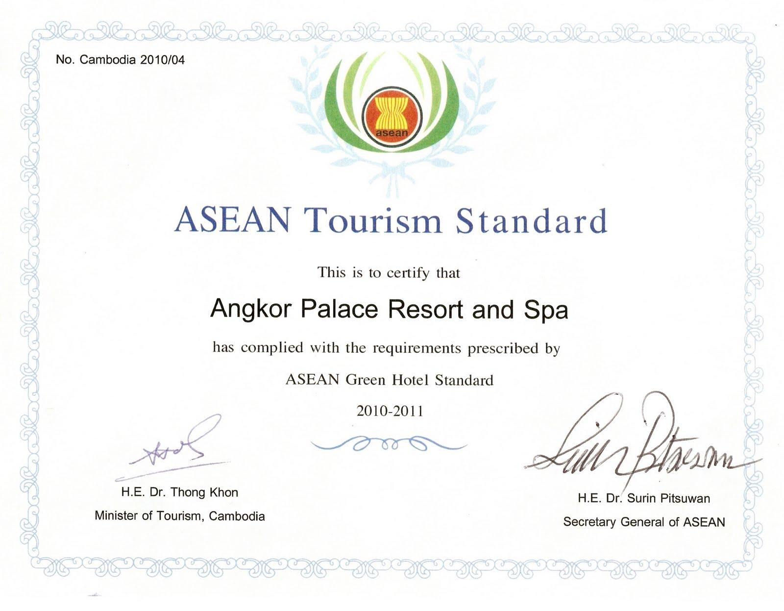 asean green hotel standard award