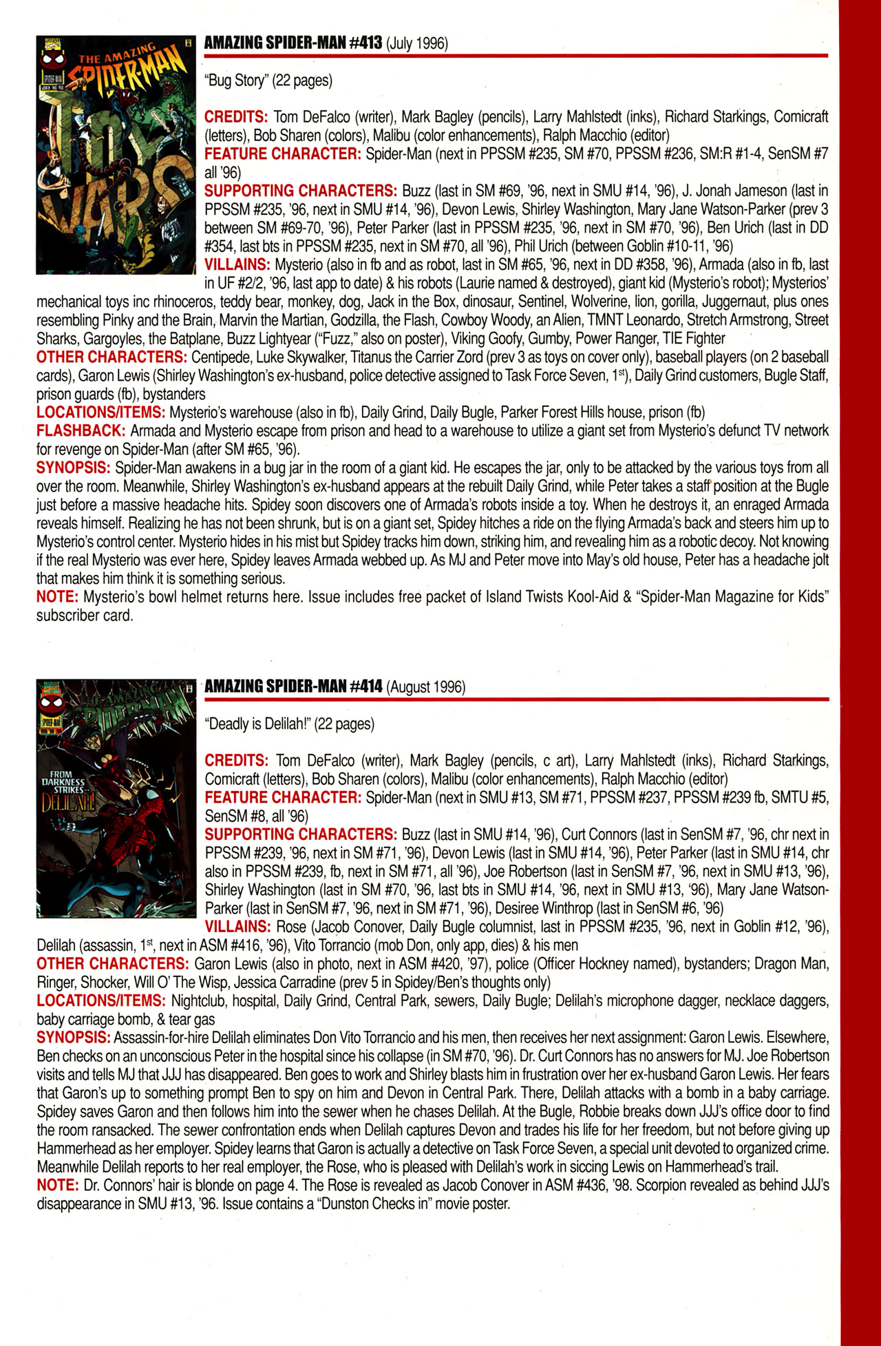 Read online Official Index to the Marvel Universe comic -  Issue #10 - 11