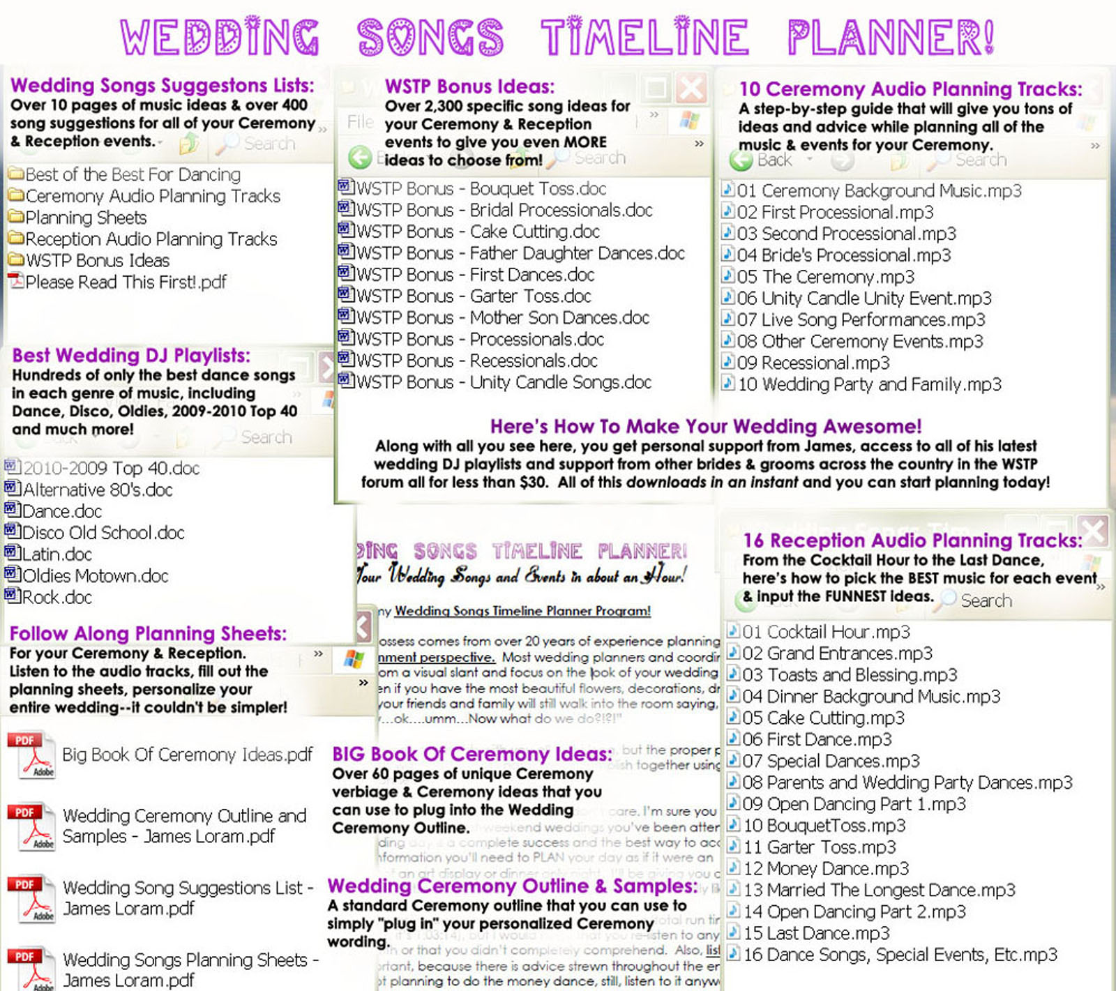 Wedding Songs Music Planner Package