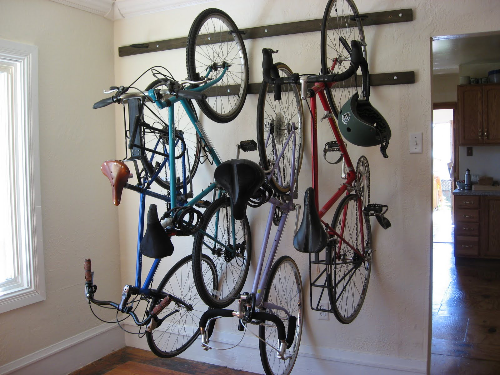 Vertical Bike Storage With Metal Studs Cycling