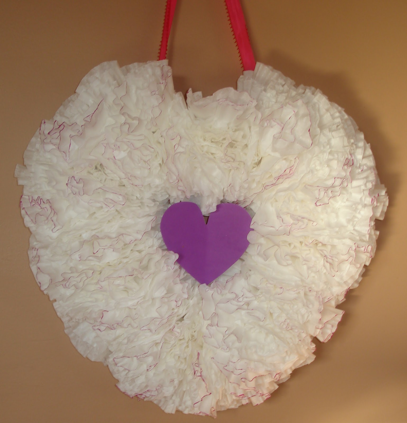 Sweet Pea & JoJo: Valentine Colored Coffee Filter Wreath
